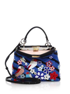 fendi female 201920 peekaboo mini beaded denim satchel
