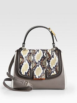 Fendi - Silvana Python & Leather Top Handle Bag