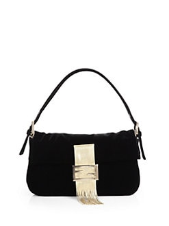 Fendi - Velvet Baguette Medium Shoulder Bag