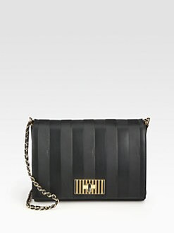 Fendi - Pequin Embossed Leather Shoulder Bag