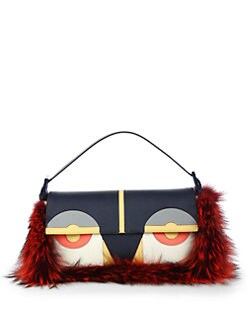 Fendi - Monster Fox Fur Baguette Shoulder Bag