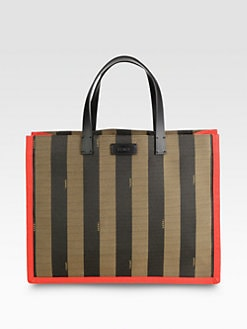 Fendi - Pequin Busta Striped Canvas Tote