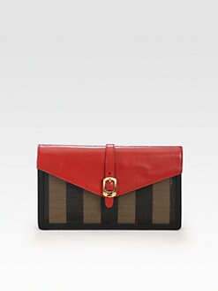 Fendi - Pequin Large Canvas Clutch