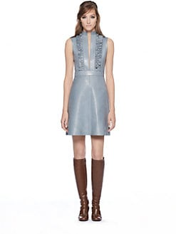 Gucci - Leather Ruffle-Front Dress