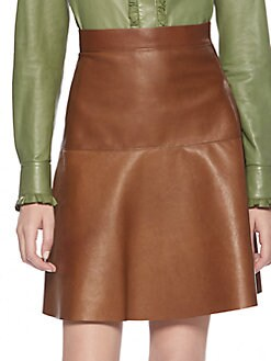 Gucci - Leather Flare Skirt