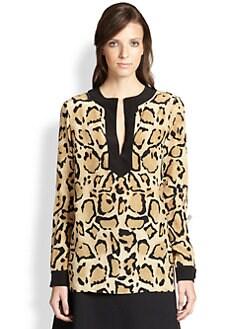 Gucci - Leopard Print Silk Top