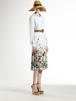 Gucci - Flora Stripe Silk Dress