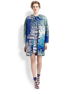 Gucci - Dahlia Print Silk Gazar Collarless Coat