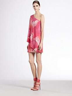 Gucci - Dahlia Print One-Shoulder Dress