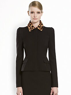 Gucci - Wool Jacket with Jaguar Print Collar