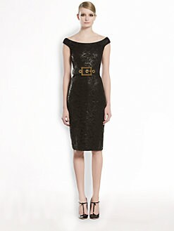 Gucci - Lacquered Lace Shift Dress