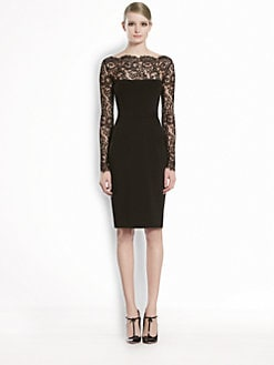 Gucci - Stretch Jersey & Flower Lace Dress