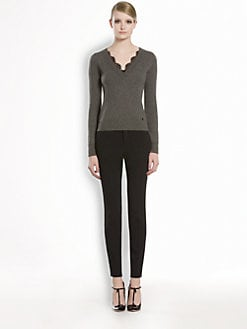 Gucci - Cashmere & Lace V-Neck Sweater