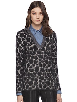 Gucci - Leopard-Effect Mohair V-Neck Sweater