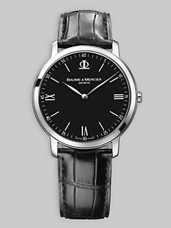 Baume & Mercier - Ultra Thin Alligator Watch/ Black