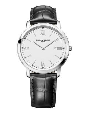 Classima 10097 Stainless Steel & Alligator Strap Watch
