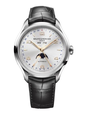 Clifton 10055 Moonphase Stainless Steel & Alligator Strap Watch