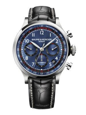 Capeland 10065 Stainless Steel & Alligator Strap Chronograph Watch