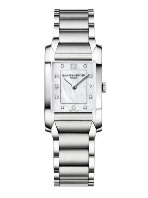 BAUME & MERCIER | Hampton 10050 Diamond, Mother-Of-Pearl & Stainless Steel Bracelet Watch | Goxip