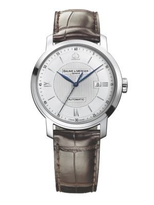 Classima 8731 Stainless Steel & Alligator Strap Watch