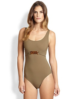 Karla Colletto Swim - One-Piece Tortoiseshell Swimsuit