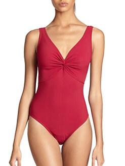 Karla Colletto Swim - Center Twist One-Piece Swimsuit