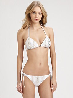 Luxe by Lisa Vogel - The Baths Embellished Triangle Bikini Top