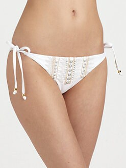 Luxe by Lisa Vogel - The Baths Embellished Tie-Side Bikini Bottom