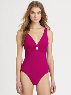 Karla Colletto Swim - One-Piece Deep-V Swimsuit