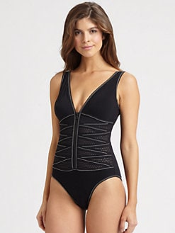 Karla Colletto Swim - One-Piece Zip-Front Swimsuit