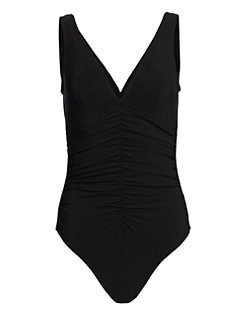 Karla Colletto Swim - One-Piece Ruched-Center Swimsuit