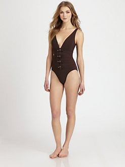 Karla Colletto Swim - One-Piece Belt-Detail Swimsuit