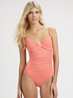 Carmen Marc Valvo - One-Piece Twisted Maillot Swimsuit