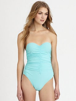 Karla Colletto Swim - One-Piece Ruched Bandeau Swimsuit