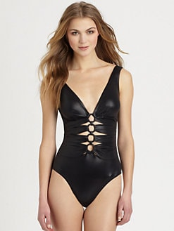 Karla Colletto Swim - One-Piece Cutout Lacquered Swimsuit