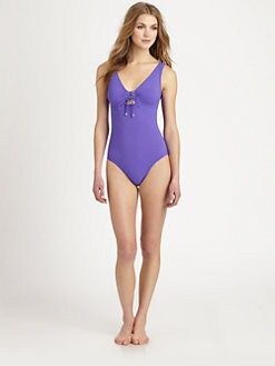 Karla Colletto Swim - One-Piece Lace-Up Swimsuit