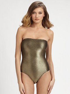 Marie France Van Damme - One-Piece Metallic Bustier Swimsuit