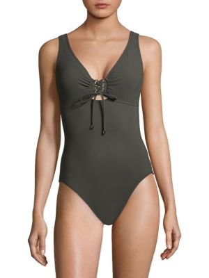 KARLA COLLETTO SWIM One-Piece Lace-Up Swimsuit