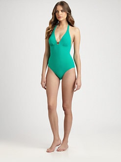 Tory Burch - One-Piece Halter Logo Swimsuit