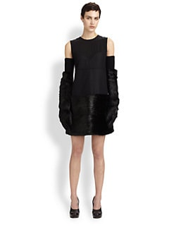 Marni - Beaver Fur-Paneled Wool-Blend Dress