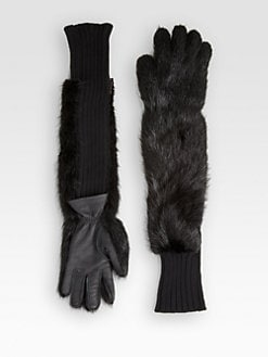 Marni - Fox Fur, Cashmere & Leather Gloves