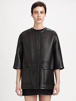 Marni - Cropped-Sleeve Leather Jacket