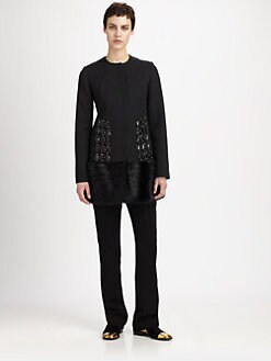 Marni - Fur-Paneled Jewel-Embellished Wool-Blend Coat