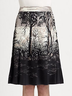 Marni - Silk Tree-Print Pleated Skirt