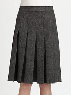 Marni - Chiffon-Insert Pleated Wool Tweed Skirt