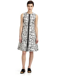 Marni - Leather-Trimmed Crackle-Print Bonded Jersey Dress