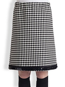 Marni - Paillette-Trimmed Diamond-Patterned Skirt