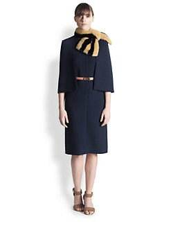 Marni - Wool Crepe Capelet Dress