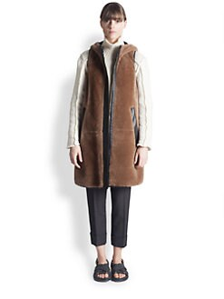 Marni - Leather-Trimmed Shearling Vest