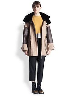 Marni - Leather & Fur-Trimmed Parka